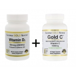 California Gold Nutrition C vitamiin 1000mg (60tbl) + D vitamiin 2000IU (90tbl)